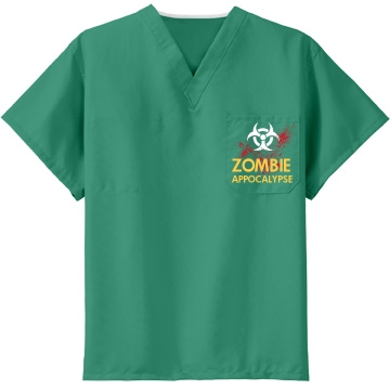 Zombie Apocalypse w/Back Unisex CornerStone Reversible V-Neck Scrubs Top