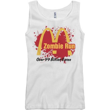 Zombie Run Fast Food Junior Fit Basic Bella 2x1 Rib Tank Top