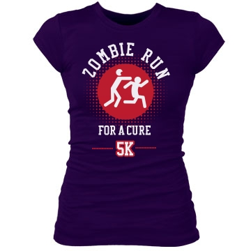 Zombie Run For A Cure Junior Fit Bella Sheer Longer Length Rib Tee