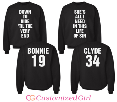 Matching Couple Bonnie And Clyde Shirts