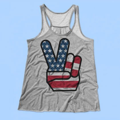 4th Of July Peace Sign Tank Top