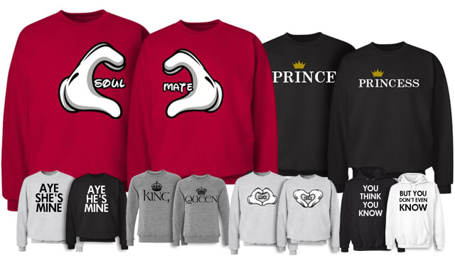 Customize Matching Couple Cute Couple Sweatshirts Tumblr